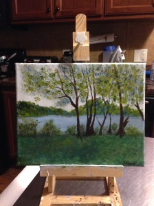 Recent painting of view by Trent River where my brother and his wife live.