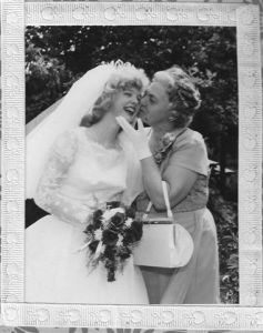 Picture of my Mother and I on my wedding day. A picture I cherish!