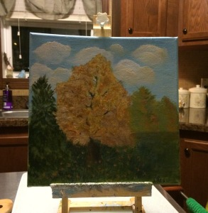 My 'less than perfect' painting of fall colours..